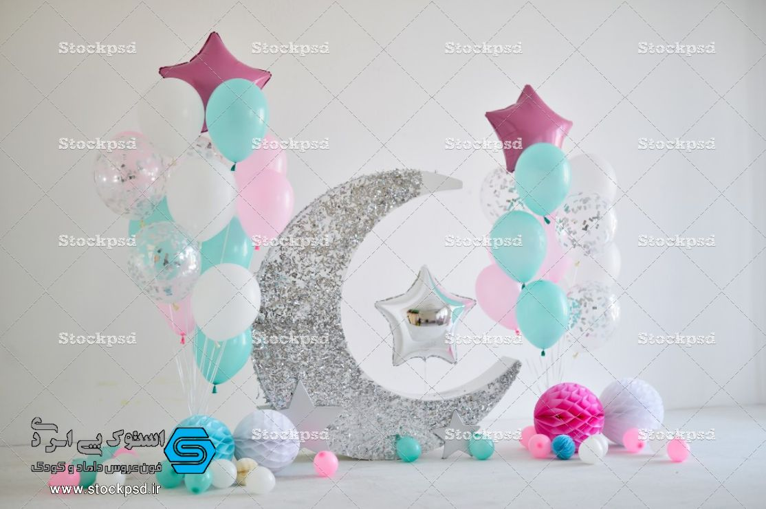 بک گراند جدید آتلیه کودک با ماه نقره ای