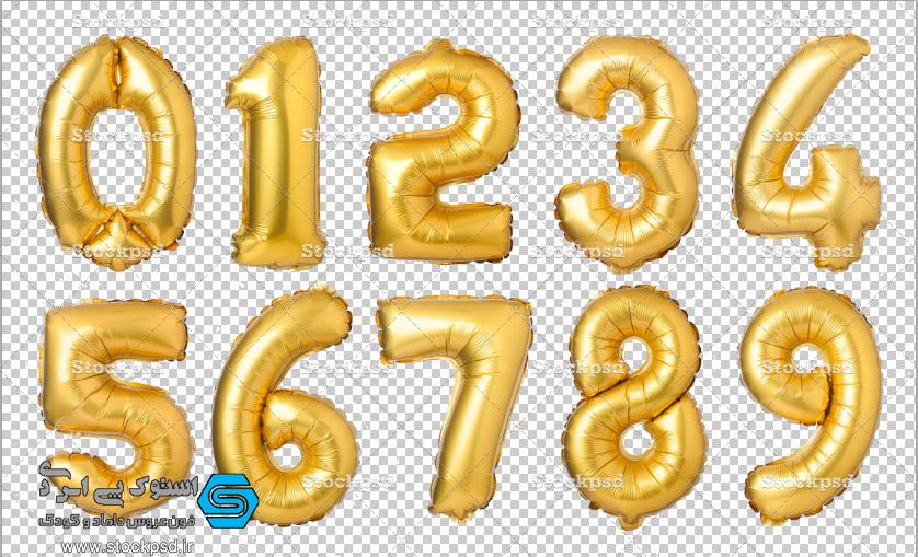 دانلود بادکنک های فویلی نقره ای و طلایی اعداد و حروف