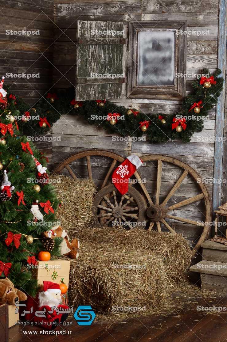 دانلود بک گراند آتلیه با دکور کریسمس