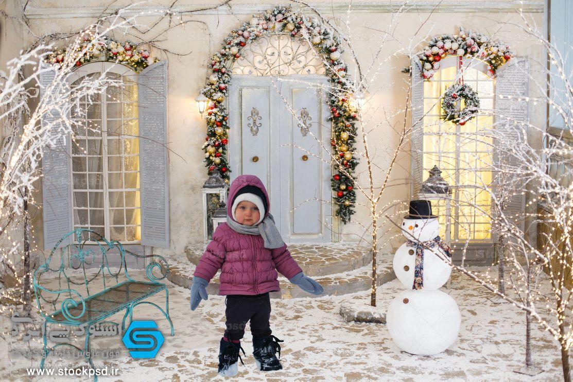 بک گراند زمستانی برای طراحی عکس کودک